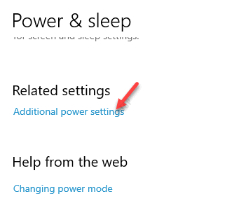 Power & Sleep Related Settings Additional Power Settings