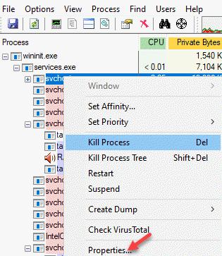 Process Explorer Process Right Click Properties