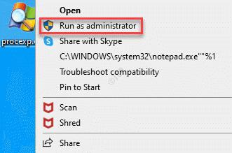 Process Explorer Right Click Run As Administrator
