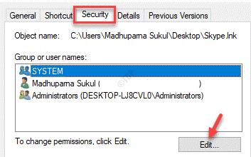 Properties Security Groups Or User Names Edit