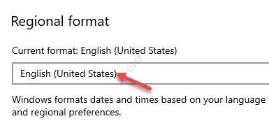 Region Regional Format English (united States)