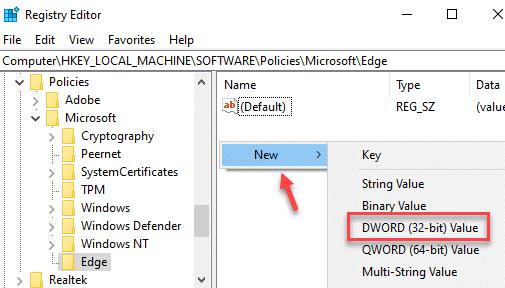 Registry Editor Edge Right Side New Dword (32 Bit) Value
