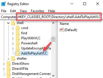 Registry Editor Navigate To Shell Directory Addtoplaylistvlc