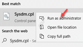 Result Sysdm.cpl Right Click Run As Administrator