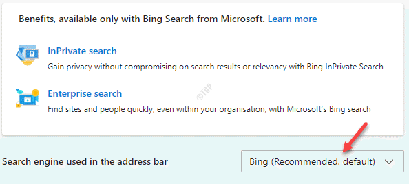 Search Engine Used In The Address Bar Bing (recommended, Default)