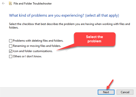 Select The Problem You Want To Troubleshoot Next