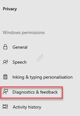 Settings Privacy Diagnostics & Feedback