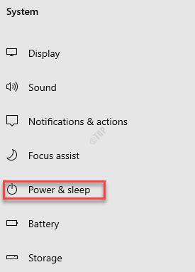 Settings System Power & Sleep
