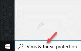 Start Windows Search Bar Virus & Threat Protection
