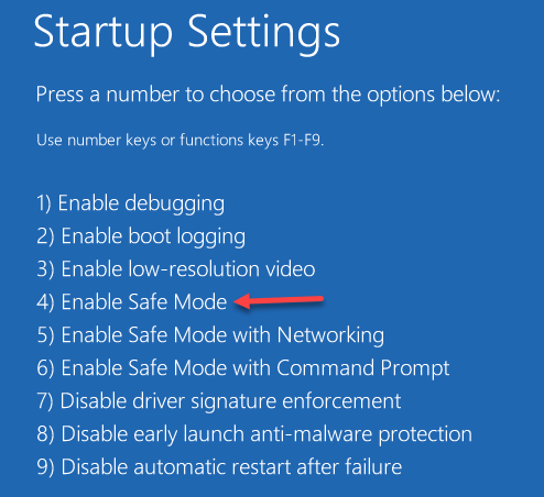 Startup Settings Enable Safe Mode 4 Key