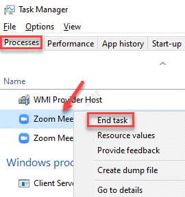 Task Manager Processes Windows Processes Zoom Meetings Right Click End Task