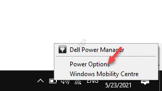 Taskbar Battery Icon Right Click Power Options