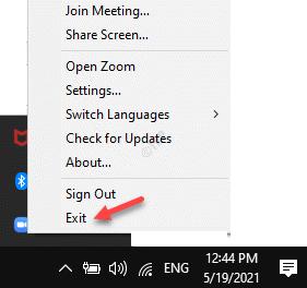 Taskbar System Tray Zoom App Right Click Exit