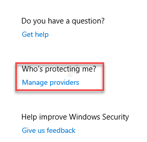 Virus & Threat Protection Manage Providers Whos Protecting Me