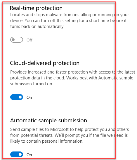 Virus & Threat Protection Real Time Protection Cloud Delivered Protection Automatic Sample Submission