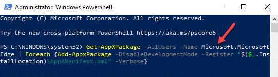 Windows Powershell (admin) Run Command Reregister Edge Enter