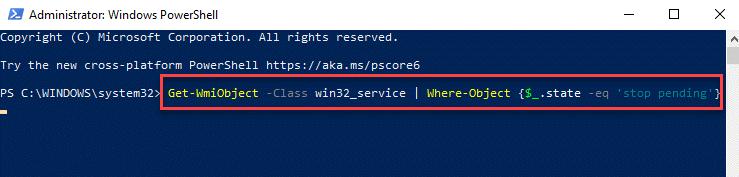 Windows Powershell (admin) Run Command To Stop Service Enter