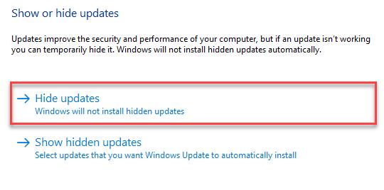 Hide Updates Min
