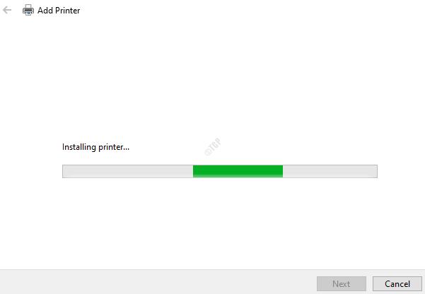 Printer Installation Is In Progress