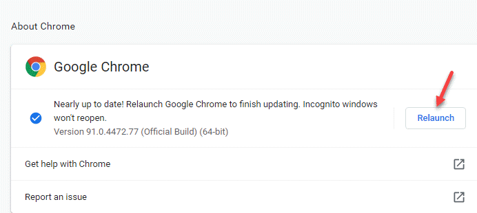 About Chrome Relaunch