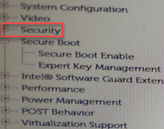 Boot Settings Security
