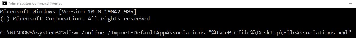 Commandtoimportfileassociations