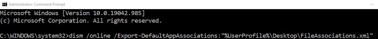 Commandtoexportfil Association