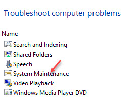 Control Panel Troubleshooting All Categories System Maintennance