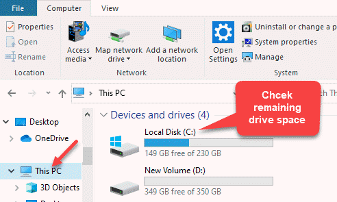 File Explorer This Pc Right Side Check Remaining Drive Space