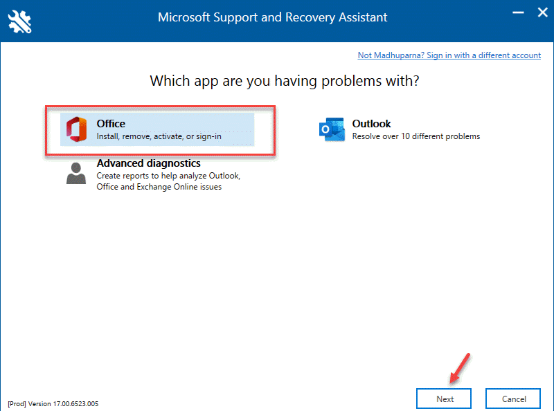 Microsoft Support And Recovery Assistant Office Next