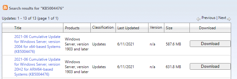 Microsoft Update Catalog Search Results Click On Download Based On System Type