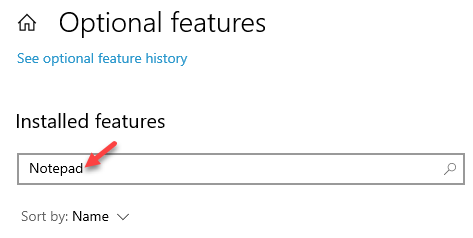Optional Features Installed Features