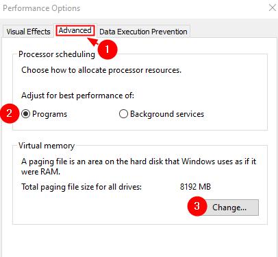 Performance Options Virtual Memory