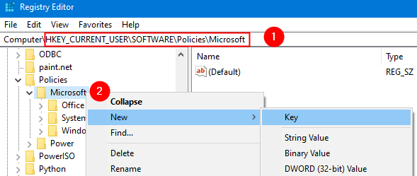 Registry Editor Microsoft Folder