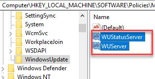 Registry Editor Navigate To Windowsupdate Wuserver & Wustatusserver Delete Both