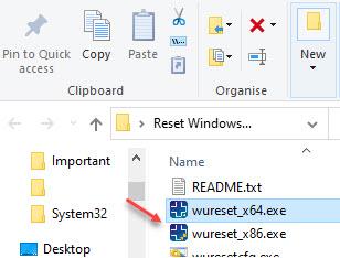 Reset Windows Update Tool Folder Wureset X64.exe Run