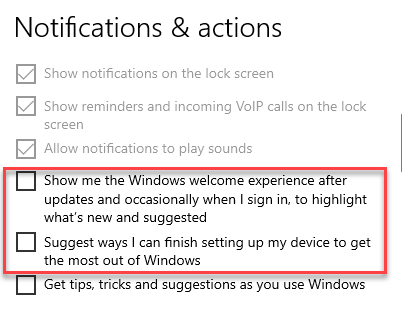 Settings System Notifications & Actions Windows Welcome Experience And Finish Setting Up My Device Uncheck