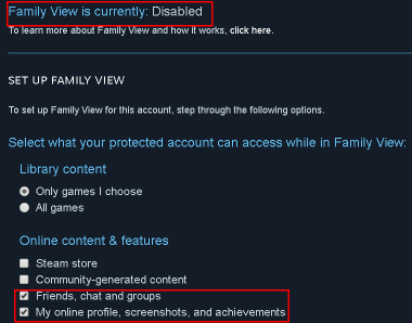 Steam Image Failed Update Family View Disable Settings