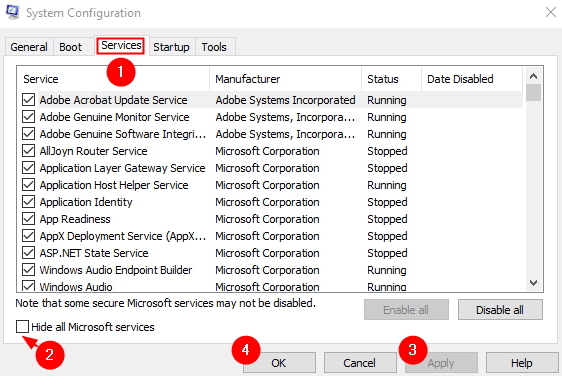 System Config Microsoft Services
