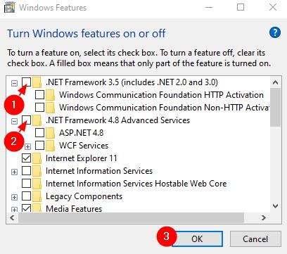 Untick Dotnet Framework Options