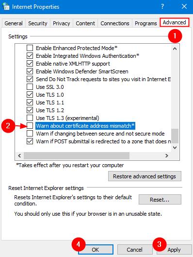 Warn About Certificate Address Mismatch Min