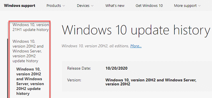Windows 10 Update History Page Select Current Windows 10 Version
