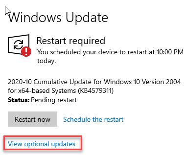 View Optional Update Restart Now Min
