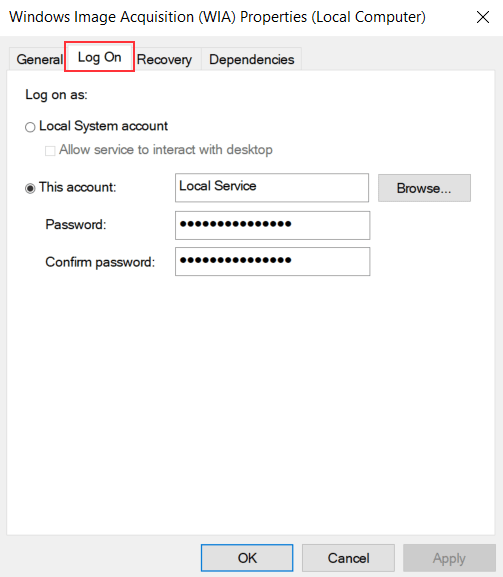 Windows Image Acquisition Log On Tab