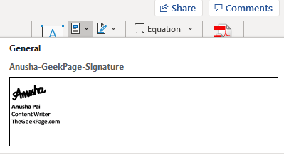 Acessing Signature From Quick Parts