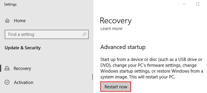 Advanced Startup Restart Now Min