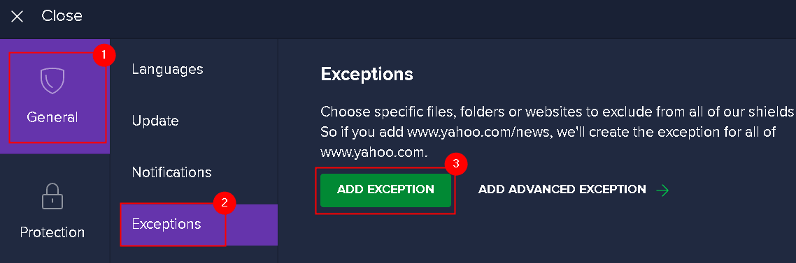 Avast General Add Exceptions Min