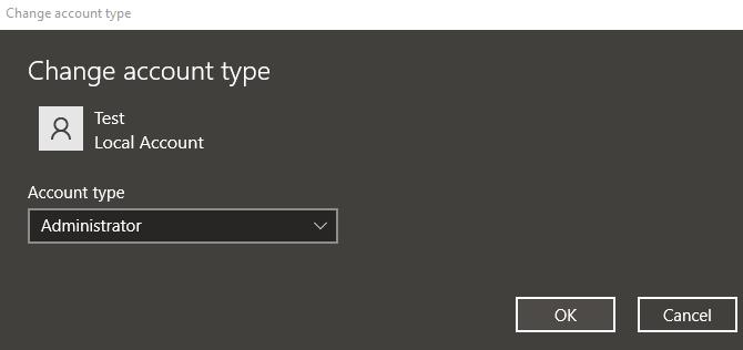 Change Account Type Administrator