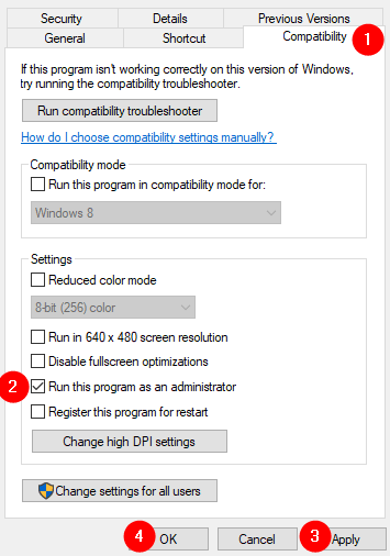 Compatibility Tab Run Program As Administrator Min