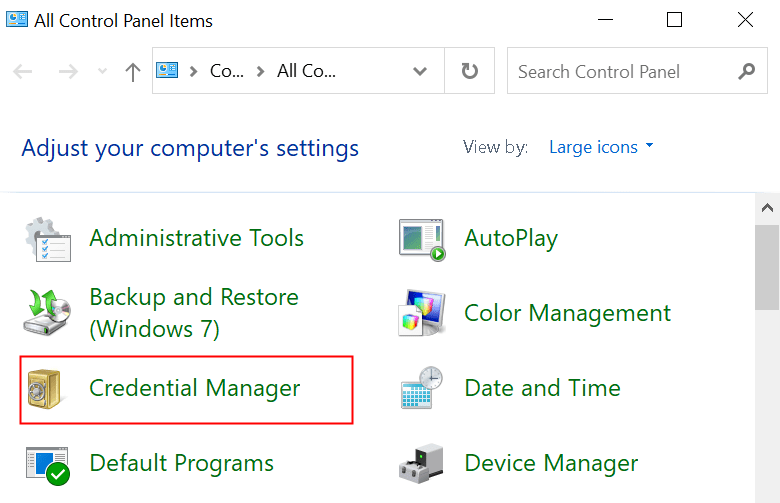Control Panel Credential Manager Min